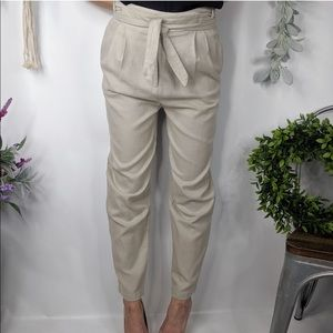 CURATOR Pants Tan Belted Paper Bag Style taper k13